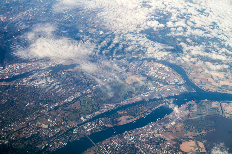 Aerial view of confluence of Willamette and Columbia Rivers near Portland, Oregon - USA - Washington