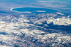 Mono Lake and the Sierra Mountains as seen from a commercial airliner over California