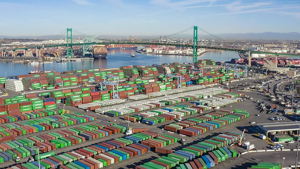 Aerial view of container shipping operations at the port of San Pedro and Long Beach - San Pedro, Los Angeles, California, United States (US)
