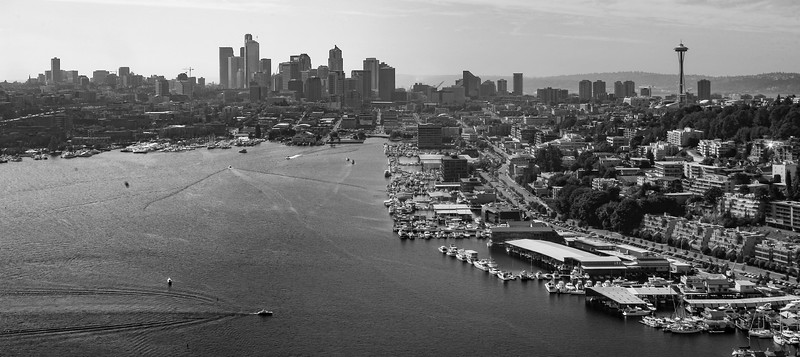 A unique aerial view of Seattle and Lake Union as seen from above Gasworks Park from a float plane