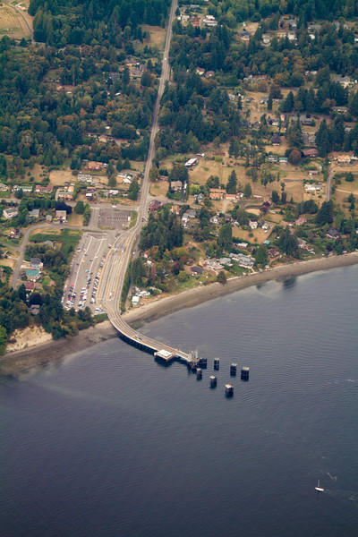 Aerial view of Vashon Island ferrydock and holding area - USA - Washington