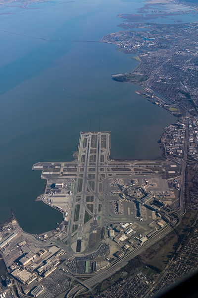 Aerial view of San Francisco International Airport (SFO) and San Francisco Bay