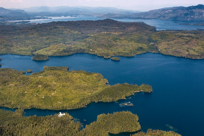 An archipelago of islands as seen from a small airplane flight out of Ketchikan, Southeast Alaska