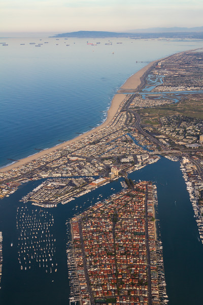 Aerial view of coastal city