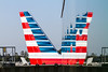 Reflection of vertical stabilizer of american airlines