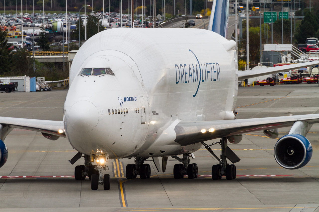 An Air Atlas Boeing Dreamlifter taxis around Paine Field in Everett - Washington - USA