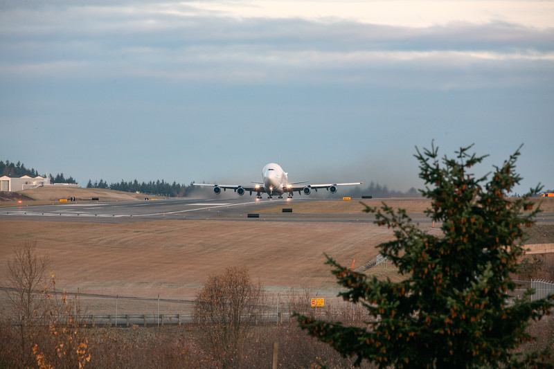 A Boeing Modified 747 Dreamlifter Takes Off From Payne Field At Boeing's Everest Facility, Washington, USA