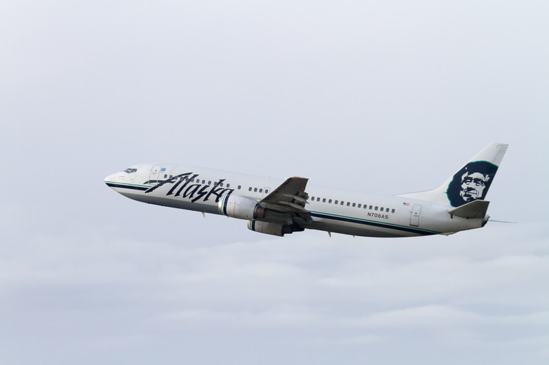 An Alaska Airlines Boeing 737 takes off from Seattle-Tacoma International Airport
