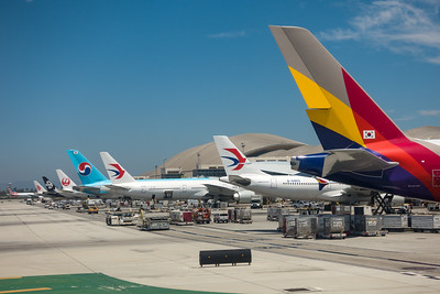 International airplanes await passengers at LAX's Bradley International Terminal