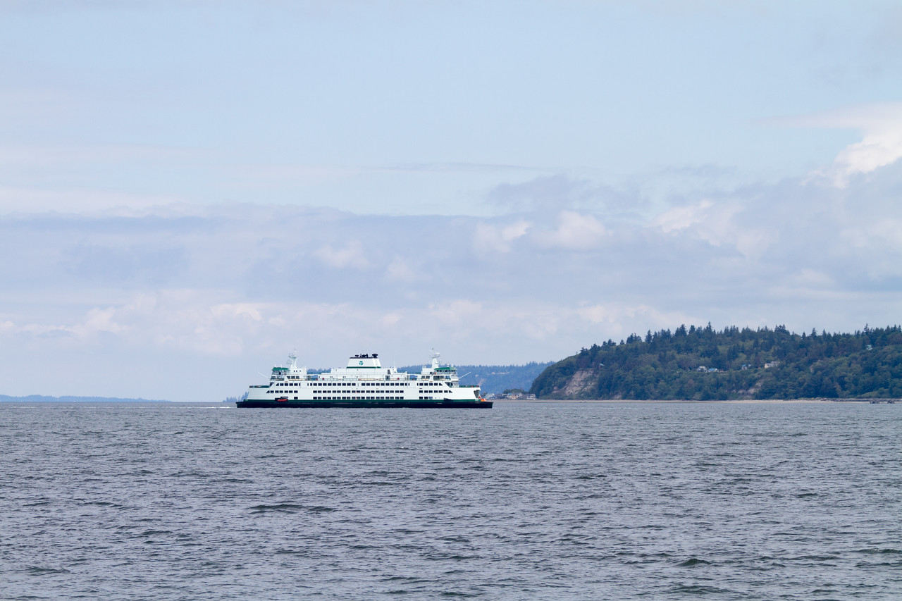 The M/V Tokitae crosses in front of Hat Island while undergoing trails before it was commissioned for service