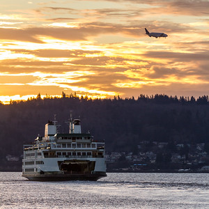 View of passenger ferry and airplane