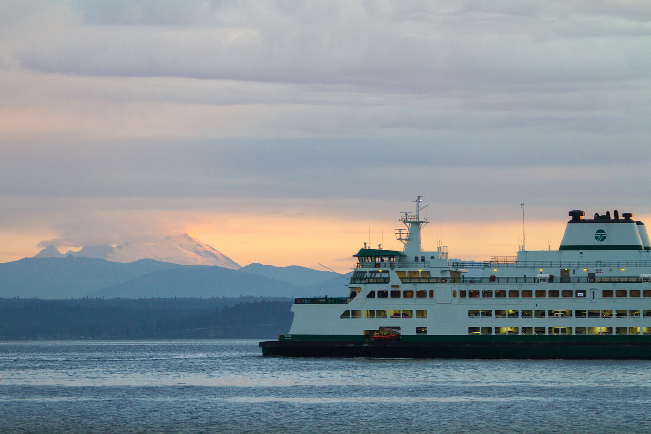 Washington State Ferry on sea with Mount Baker in background - USA - Washington