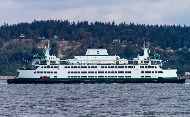 The Washington State Ferry MV Tokitae crosses Puget Sound between Clinton on Whidbey Island and Mukilteo.