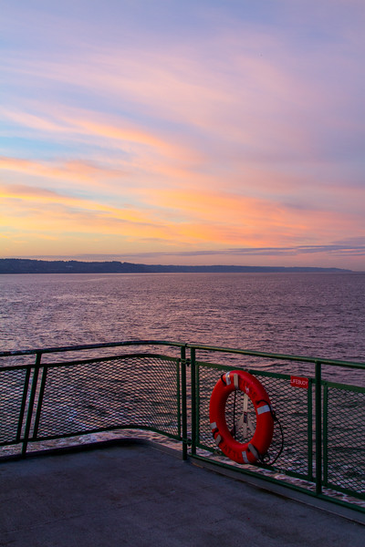 View of sunset through boat deck