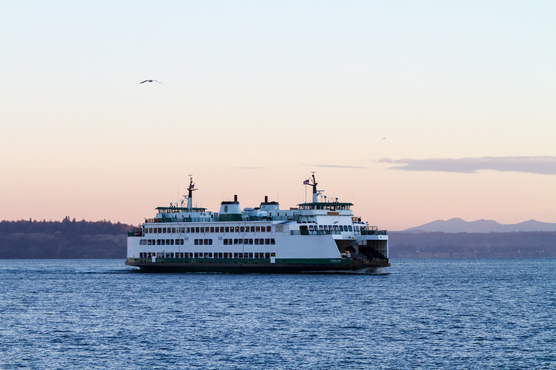 The M/V Kittitas crosses from Whidbey Island to mainland Washington across the Puget Sound