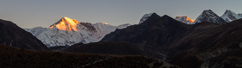 A panoramic view of Cho Oyu from the town of Gokyo in Nepal.