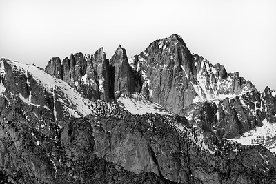 Black and white picture of Mount Whiney with snow at Manzanar, California, USA