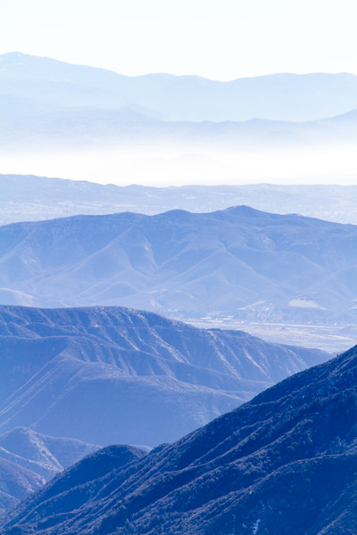 View overlooking San Bernadino Valley and layered mountain range - California - USA