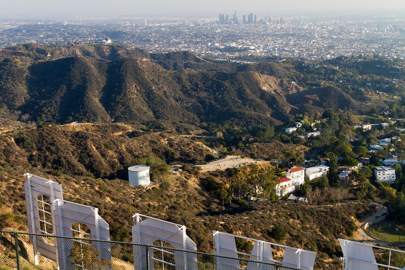 View of downtown Los Angeles with Hollywood sign in foreground - USA - California - Los Angeles