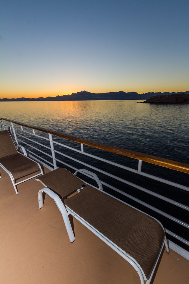 Sunloungers on deck of cruise ship - Mexico