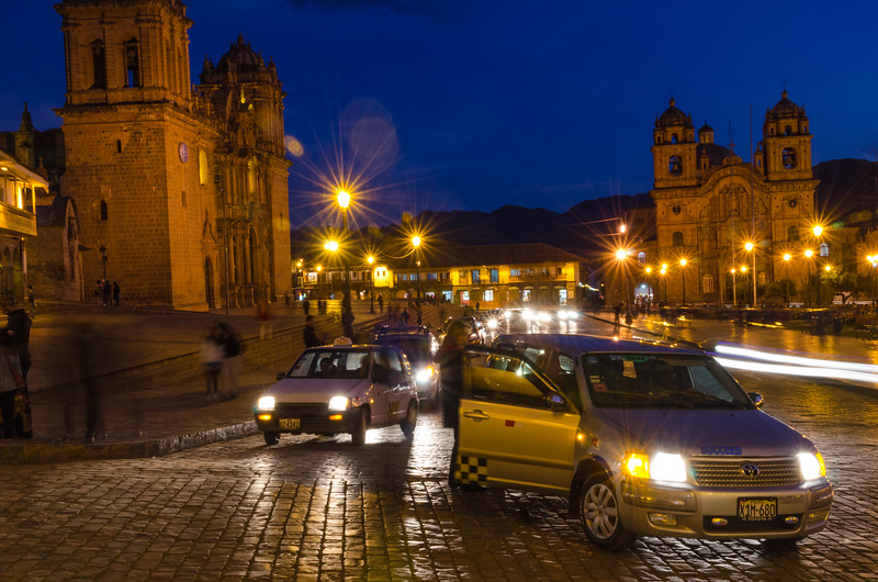 Traffic in front of Cusco Cathedral - Cusco - Peru