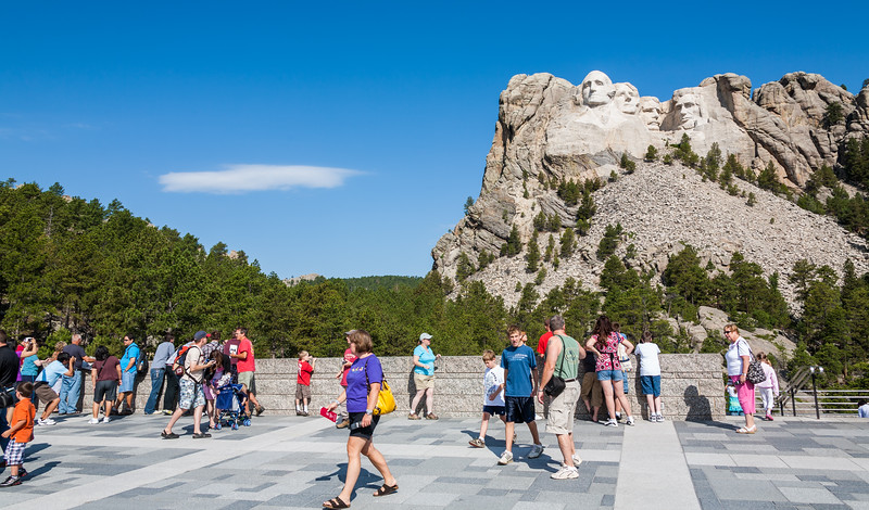Tourist visiting Mount Rushmore National Memorial - USA - South Dakota