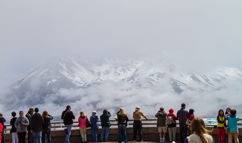 Visitors view Mount St. Helens from Johnston Ridge Observatory - USA - Washington