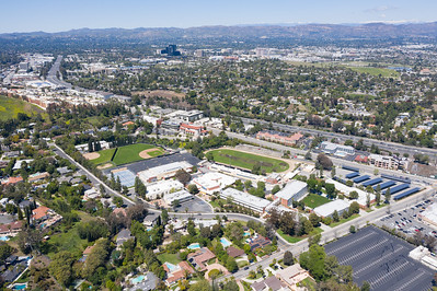Aerial view of Taft High School in Woodland Hills, California