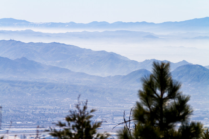 View overlooking San Bernadino Valley and mountain range - California - USA