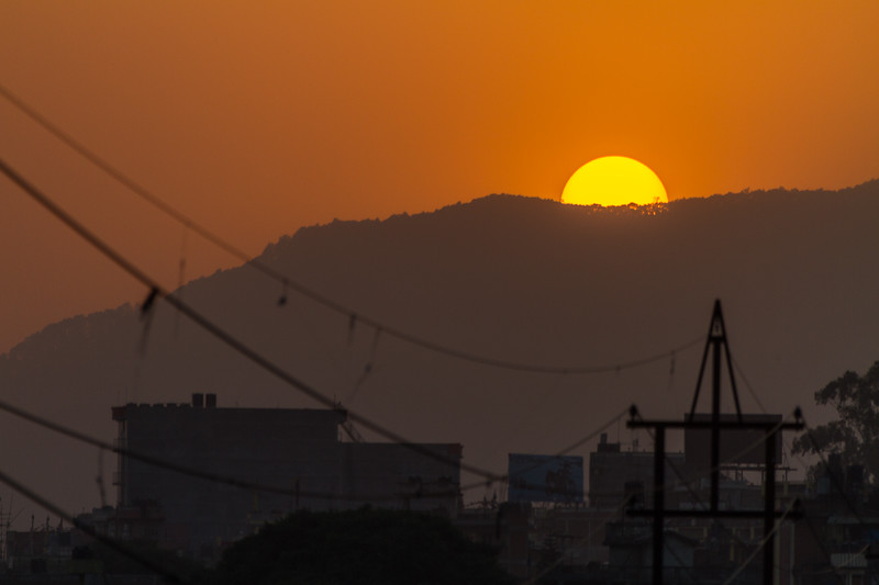 Power lines at sunset - Nepal