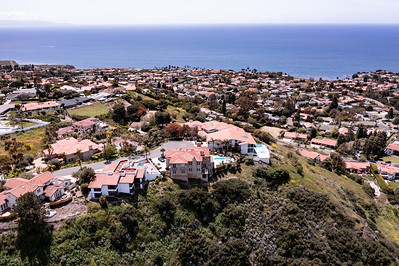 Aerial view of luxury homes and the Pacific Ocean as seen from Rancho Palos Verdes, California