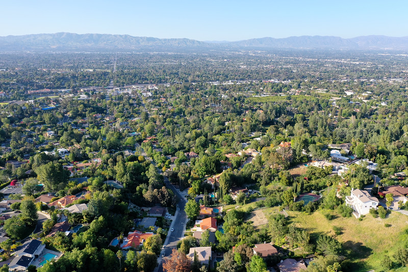 Aerial view of Woodland Hills, Los Angeles, California and San Fernando Valley