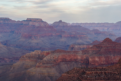 View of a hazy Grand Canyon at Grand Canyon National Park, Arizona, USA