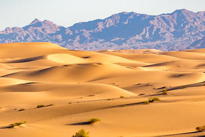 A long view of sand dunes and the Chocolate Mountains in Southern California