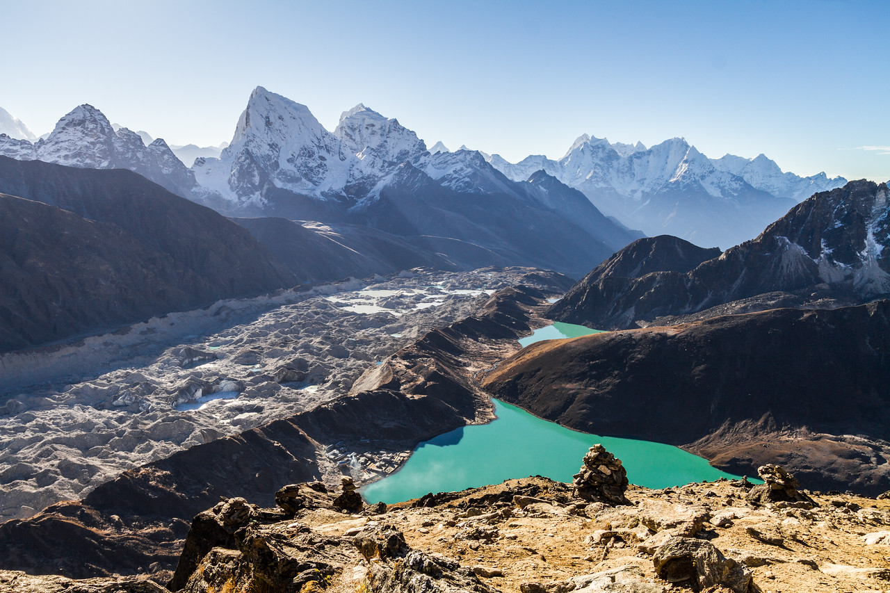 The view to the south of Gokyo Ri includes Cholatse and Gokyo Lake, Nepal