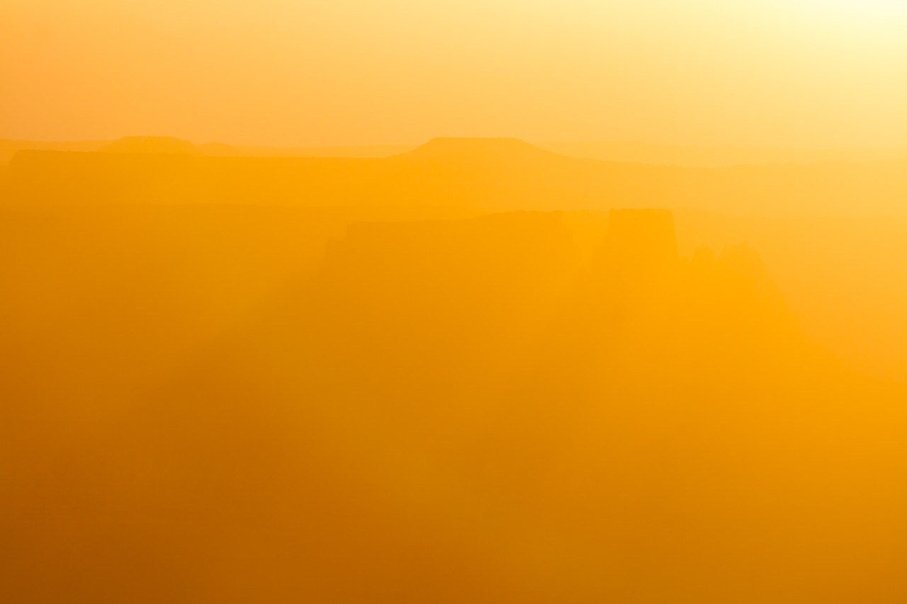 View of mountains with orange sunlight in Utah - USA