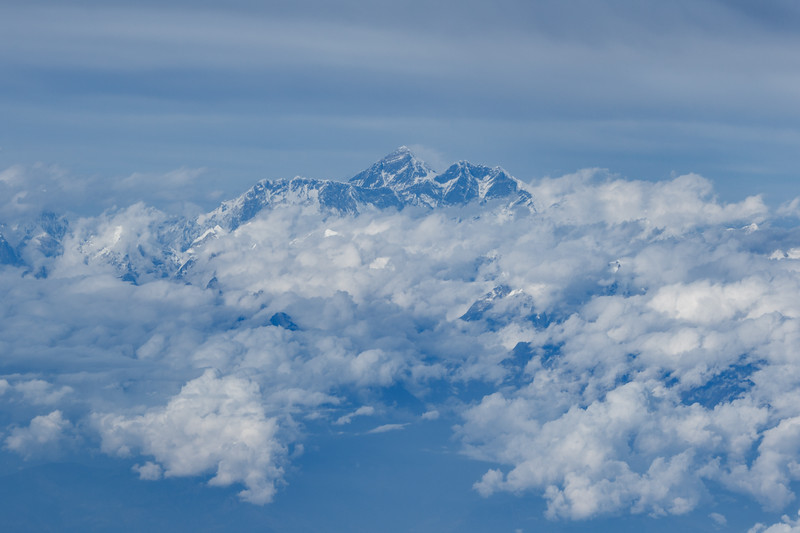 Aerial view of Mount Everest (Sagarmatha)and surrounding Himalayan Mountains