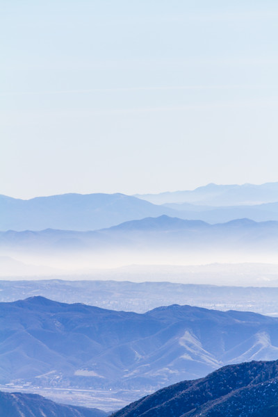 Vertical view overlooking San Bernadino Valley and mountain range - California - USA