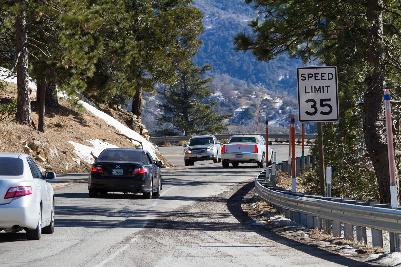 Cars passing each other on a mountain road heading to Big Bear - California - USA