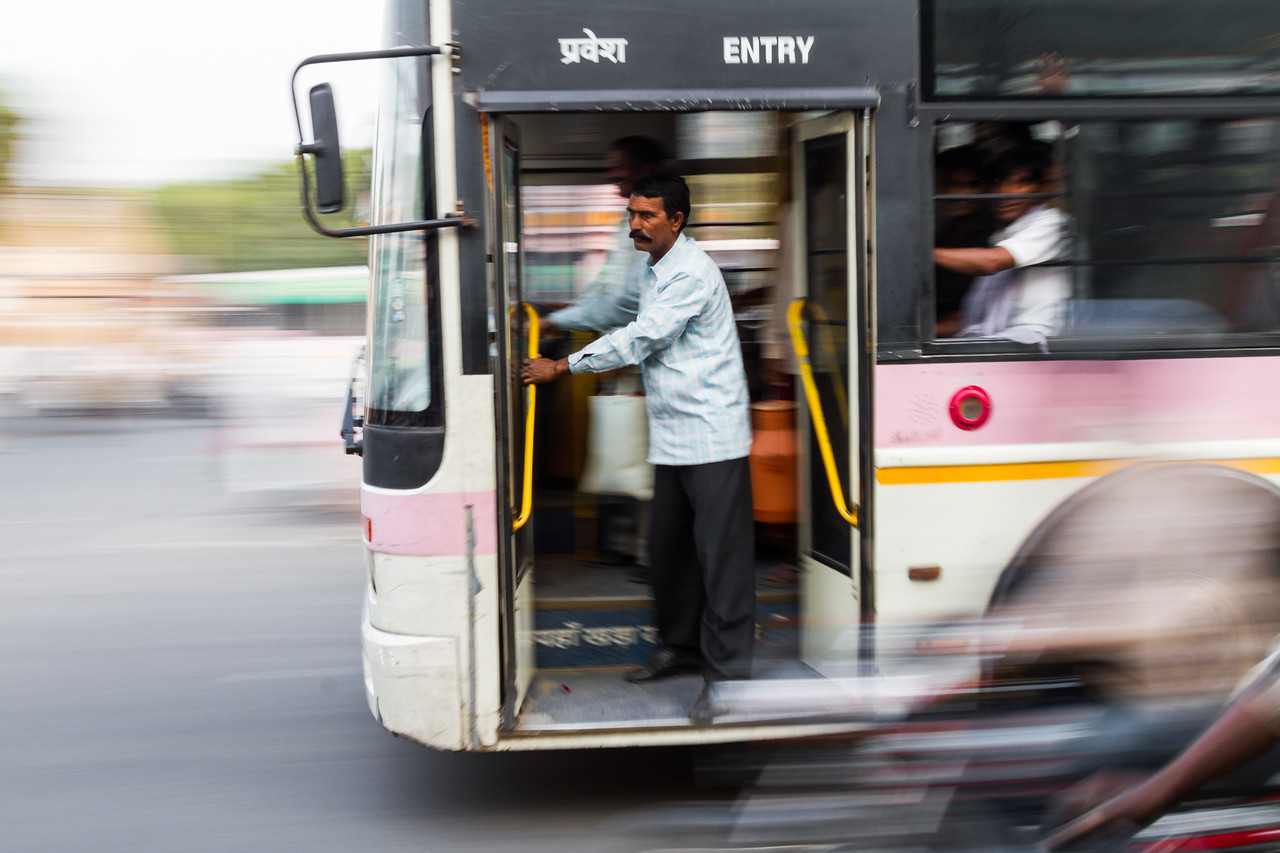Blurred motion of bus - India