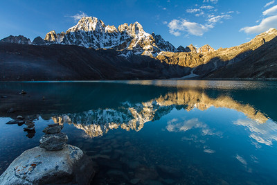 Machermo Range Reflected in Gokyo Lake At Sunrise, Gokyo, Solukhumbu, Himalayas, Nepal, Asia
