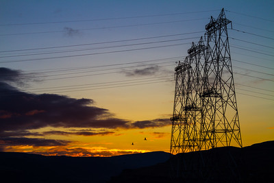 View of electricity pylons - USA