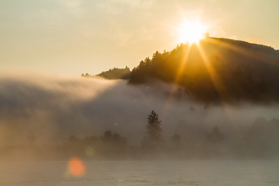 View of sunrise over mountain - USA
