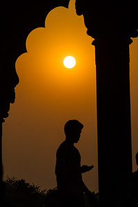 Silhouette of man at sunset - Red Fort - Asia - India - Delhi