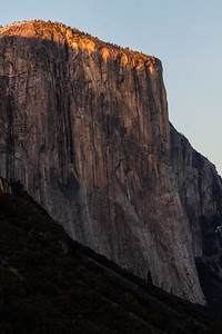 Sunset light on the top of El Capitan, Yosemite National Park, California, USA, North America