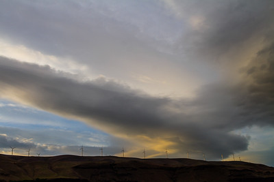 Storm Clouds Above Wind Turbines In Eastern Washington, USA