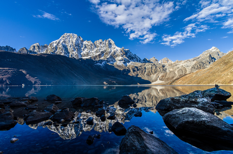 The Machermo Range Reflected In Dudh Pokhari, Gokyo, Solukhumbu, Nepal