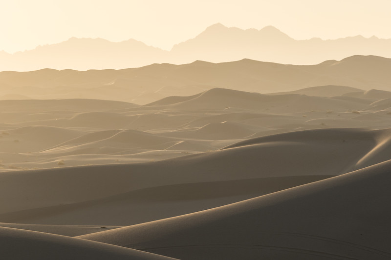 The Algodones Dunes extend to the horizon where they meet the Chocolat Mountains