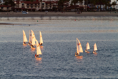 Sailboats compete on the Pacific Ocean off the coast of Santa Barbara, California