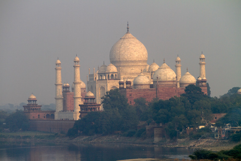 The Taj Mahal as seen from Agra Fort across the Yamuna River in Agra, India, Asia